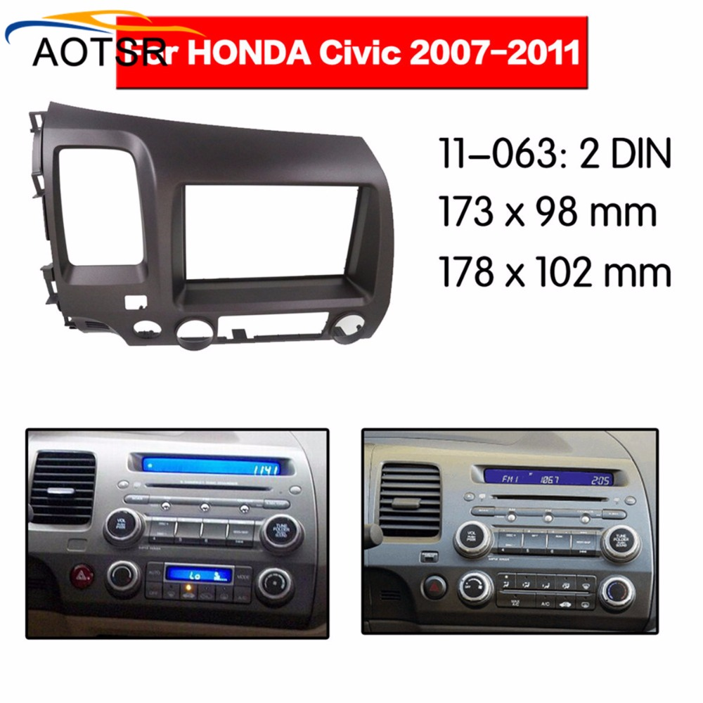 car Radio Facia For Honda Civic 2007 2008 2009 2010 2011 2 Din dvd player Fascia