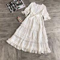 Новый Pleat Кружева сращиваются полые длинное платье Женский Кружева сращены хлопок пляжное платье для девочек