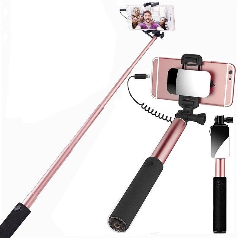 Universal Spiegel Selfie Stick Einbeinstativ Für Samsung Galaxy S9 S8 360 Grad 90 cm Wired Selfie Sticks Für IPhone X 8 7 6 s Plus