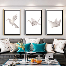 Nordic Paper Bird Boat Posters And Prints Simple Painting Canvas Texture Wall Art Poster For Living Room 3 Pieces