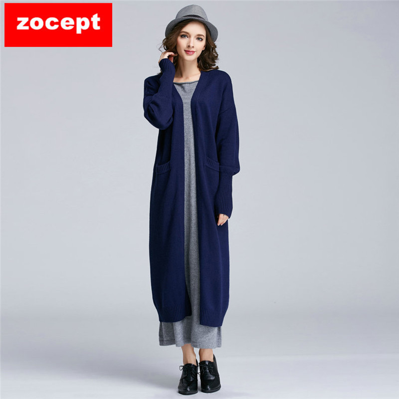 zocept High Quality Cashmere Blended Long Sweater Cardigans Women Winter Female Soft Comfortable Warm knitted Loose