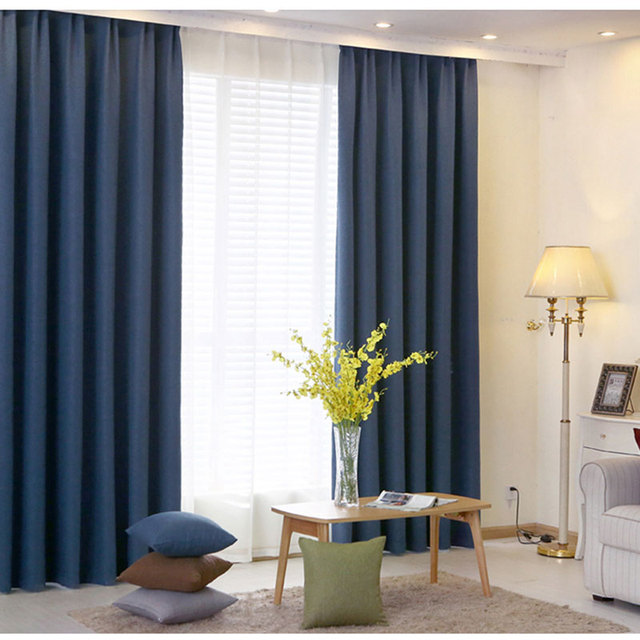 Curtains Bedroom Solid Color Modern Home Designs Imitation Linen Blackout  Fabrics Curtains For Living Room Single