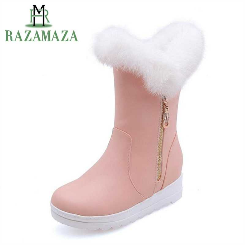 ZALAVOR Vrouwen Warm Half Korte Laarzen Winter vrouwen Schoenen Pluche Bont Binnenkant Hakken Laarzen Mode Metalen Rits Schoeisel Size 30-42