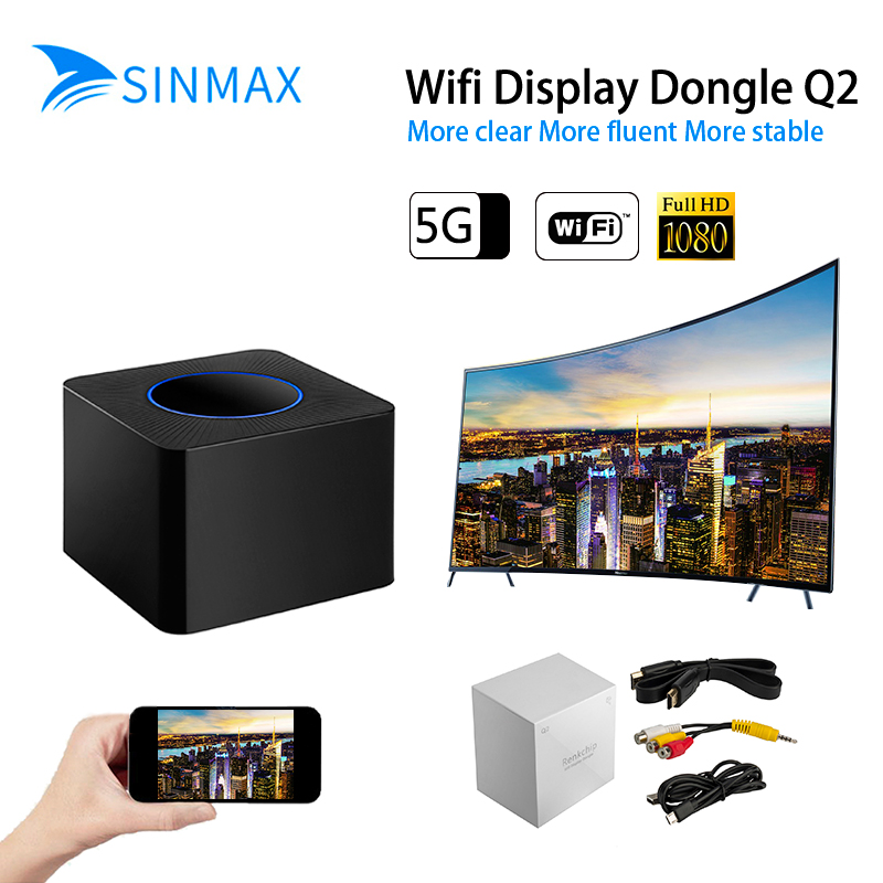Sans fil Q2 Wifi affichage Dongle écran miroir adaptateur 1080 P HDMI récepteur vidéo récepteur Mini affichage adaptateur Smart TV stick