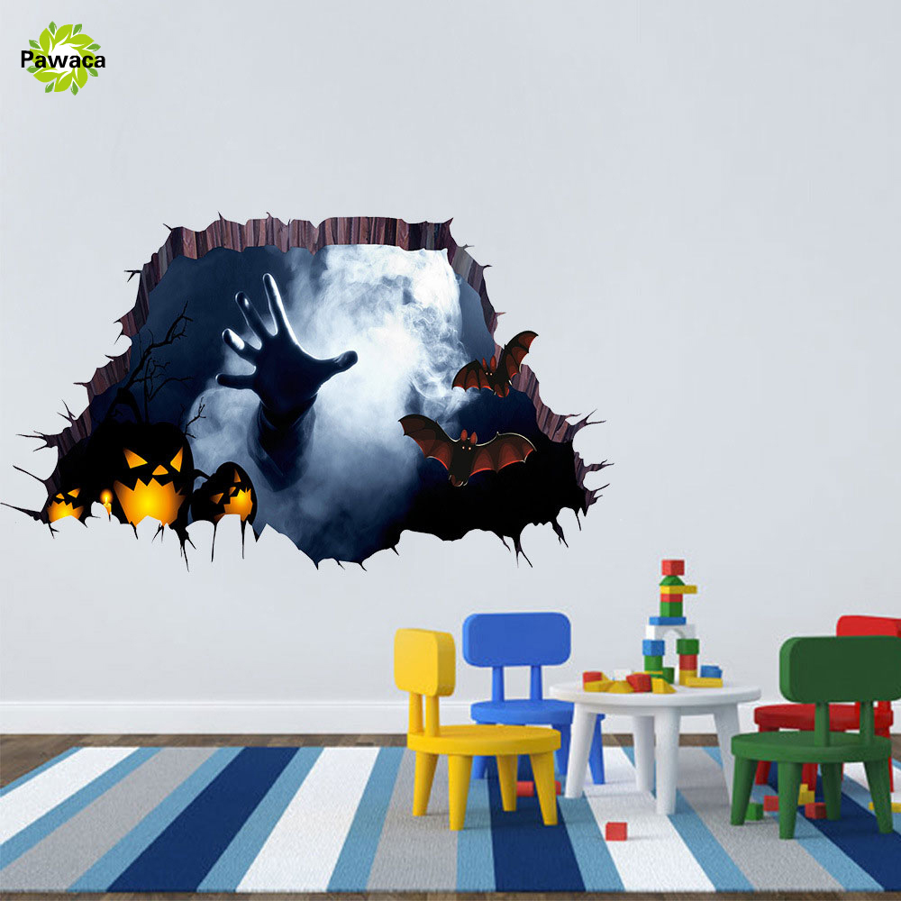home floor 6045cm halloween decoration 3d ghost wall stickers decals mural decor poster pvc removable party art stickers kits