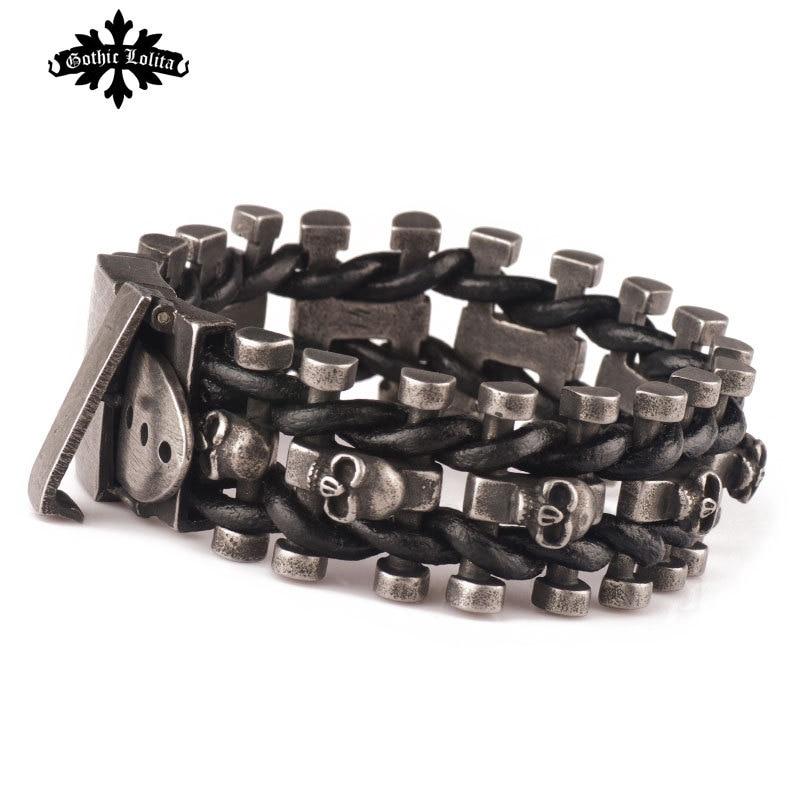 Breite schädel skelett leder armband für männer