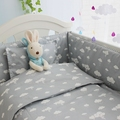 4-10 pcs/set 100% Cotton Crib Bed Linen Kit Cartoon Baby Bedding Set Includes Pillowcase Bed Sheet Duvet Cover and Filling