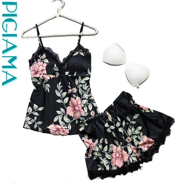 Sexy Lace Silk Pyjamas Set Floral Printed Women Pajamas Summer Home Wear Straps Pijama Ladies Bathrobe Sleepwear Pajama Suit