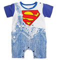 Summer Batman Superman Jeans Short Sleeve Baby Boy Romper Jumpsuit Infant Clothing Newborn Baby Rompers