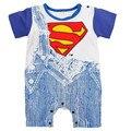 Summer Batman Superman Jeans de Manga Corta Bebé Mameluco del Mono Infantil Ropa de Recién Nacido de Los Mamelucos Del Bebé