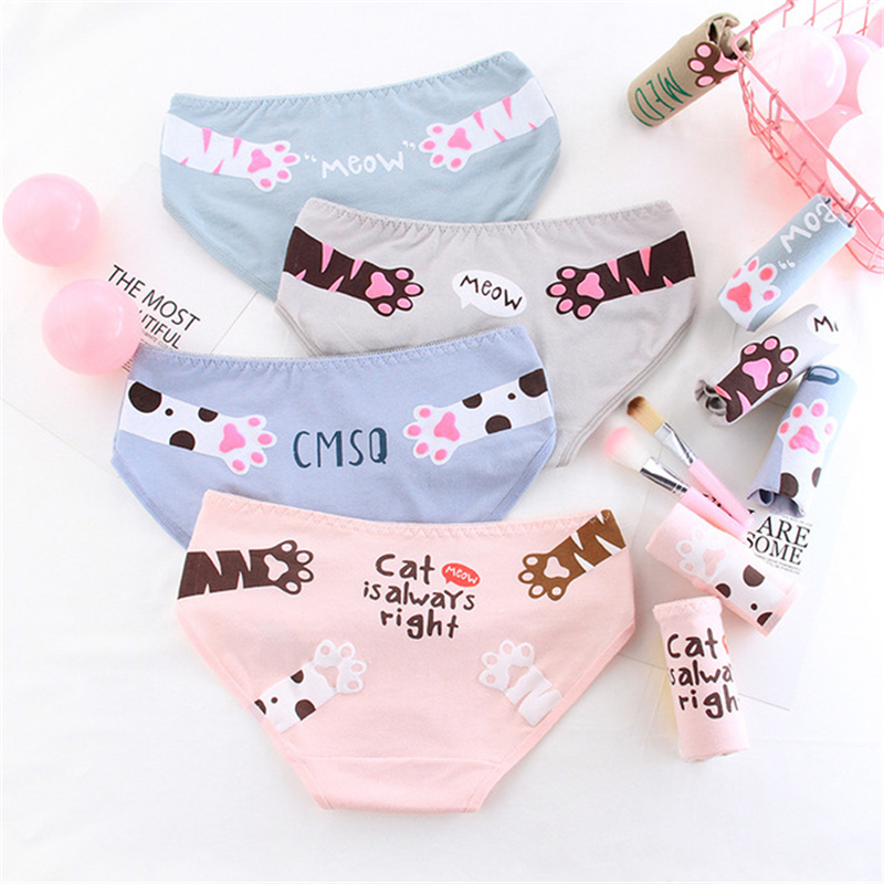 Girl briefs women's   panties   cotton cat print underwear female casual cartoon underpants ladies sexy lingerie Teenager   panty