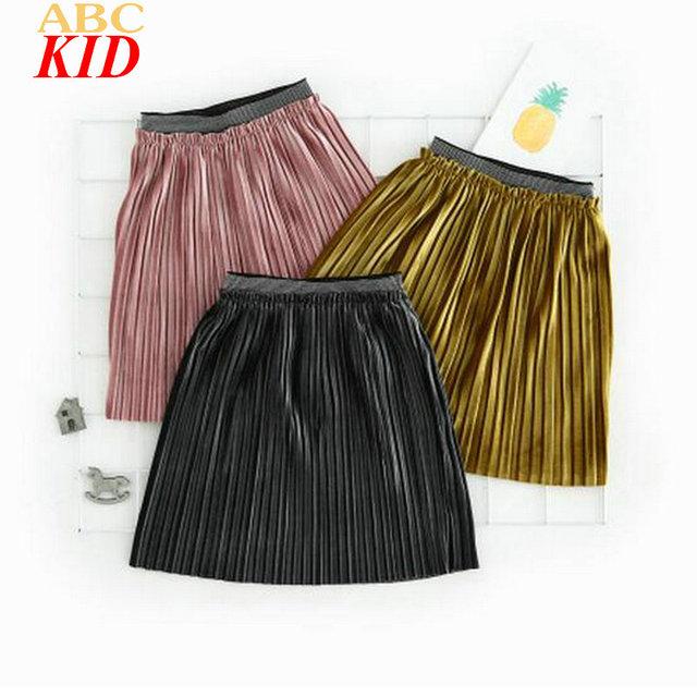 2017 Nuevos Niños de La Moda de Color Sólido Falda Rosa Drapeado Faldas de Las Muchachas Niños de La Falda Plisada Ropa KD544