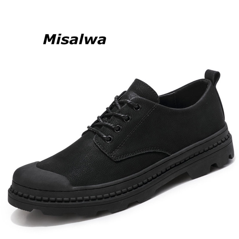 Misalwa New Spring Brand Men Shoes Genuine Leather Round Toe Lace Up Casual Shoes High Quality Breathable Black Flats Shoes