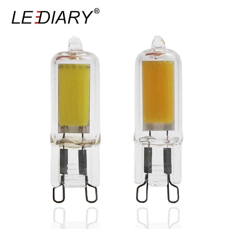 LEDIARY 5pcs/lot COB LED G9 Bulbs 220v-240v 2W High Power 48mm Tube Clear Glass G9 Lamp Super Bright Replace 25W G9 Halogen Bulb