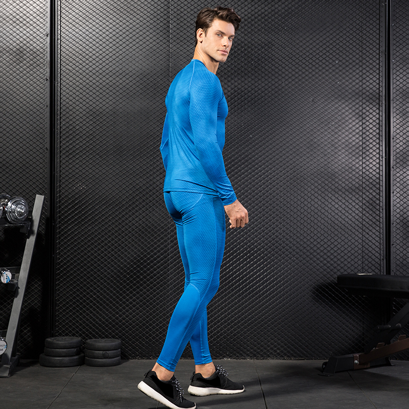 Image 3 - 2017 Fitness Tight Sport Suit Men Long Sleeve Shirt +Pant Mens Running Set Compression Gym Clothing Quick Dry Mens Sportswear-in Running Sets from Sports & Entertainment on AliExpress
