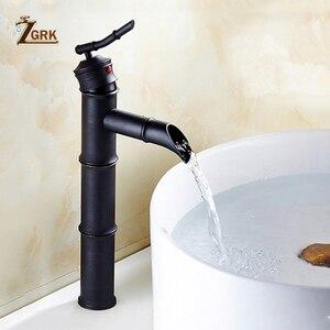 Image 4 - ZGRK שחור פליז מפל רחצה כיור כלי רז גבוה במבוק מים ברז רטרו אחת חור אגן ברזי