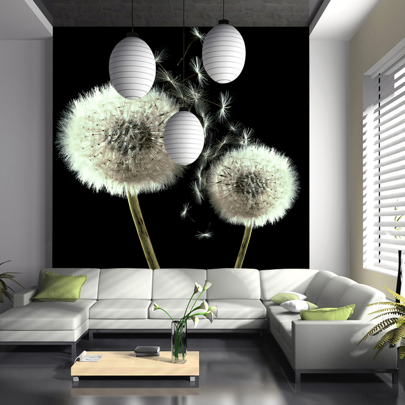5d Papel de parede White Dandelion Flower Papel Mural Wallpaper for living Room Sofa background 3d wall photo murals wallpaper 3d mural papel de parede purple romantic flower mural restaurant living room study sofa tv wall bedroom 3d purple wallpaper