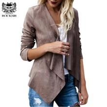Rocksir 2018 Women Artificial Suede Basic Jackets Open stitch Slim Coats Cardigan Vintage Asymmetric Ladies Motorcycle Outwears