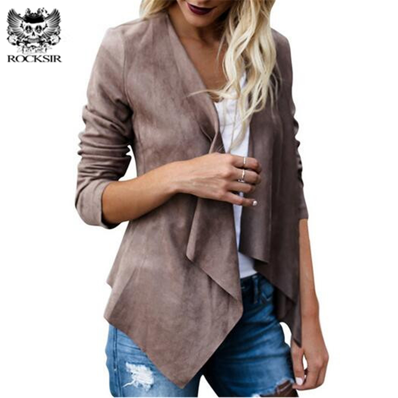 Rocksir 2018 Women Artificial Suede   Basic     Jackets   Open stitch Slim Coats Cardigan Vintage Asymmetric Ladies Motorcycle Outwears