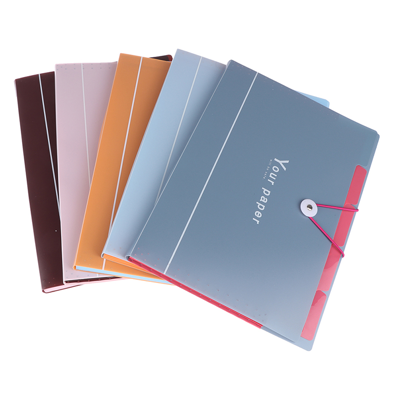 5 Grid Document Bag File Folder Expanding Wallet Portable Bag A4 Organizer Paper Holder Office School Supplies