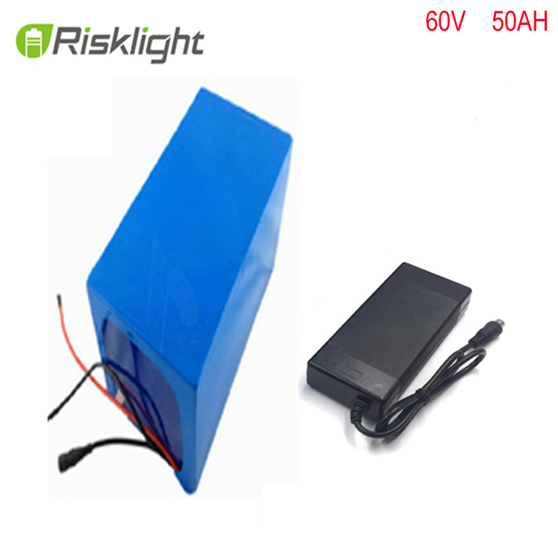 Ebike battery 60v 50ah 3000w 26650 battery electric bicycle Lithium battery pack with 67.2v 2A charger 30A BMS free shipping free customs taxes 60v 30ah high power rechargeable 26650 battery pack 60 volt 3000w lithium battery for solar system ups