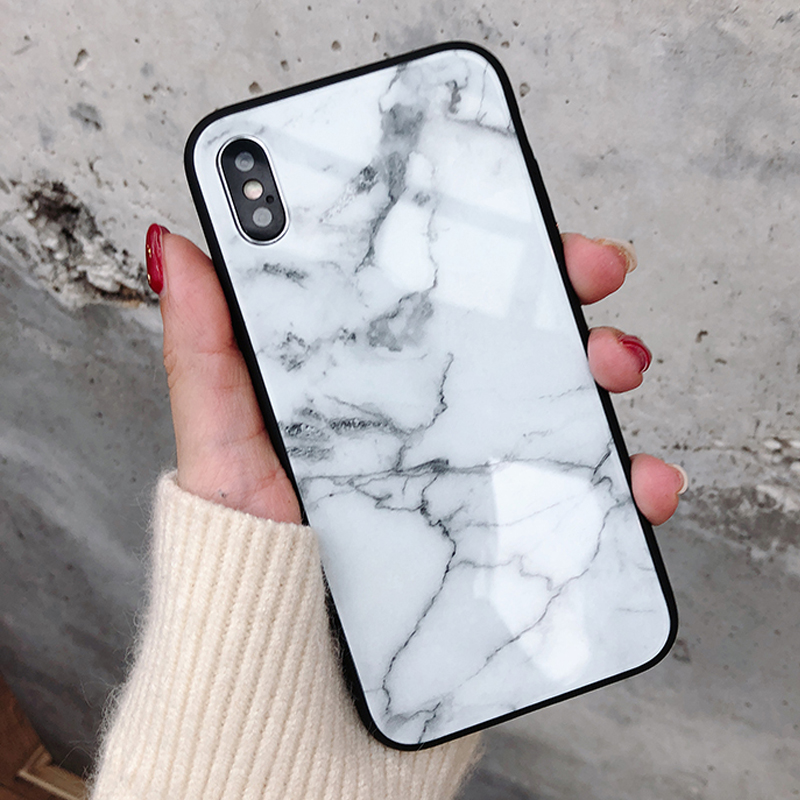 Fashion Granite Stone Marble Texture Pattern Case For iphone 6 6S 7 8 Plus X Tempered Glass bright Soft Phone Cases Cover Case