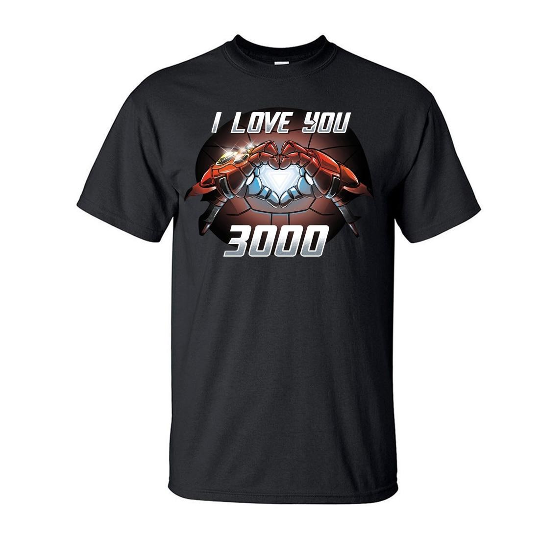 Tony Stark I Love You 3000 T-Shirt Men The Avengers Iron Man Moive Shirt 2019 New Summer Casual Plus Size Tops Tees S-3XL