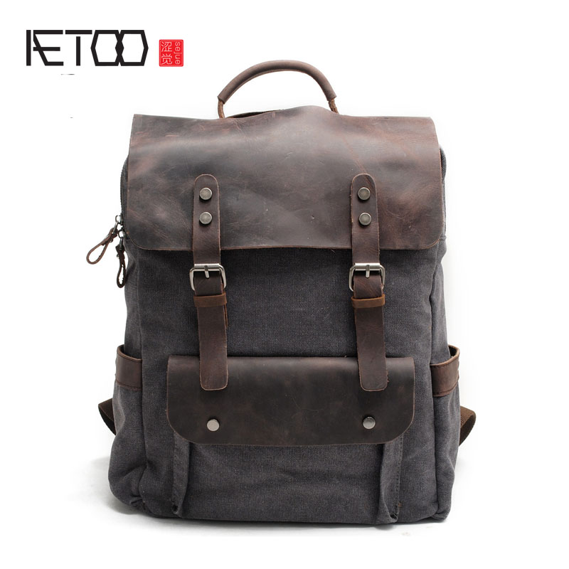 AETOO Retro Canvas Shoulder Bag Neutral Academy Wind Bags Cotton Canvas with Leather Bag