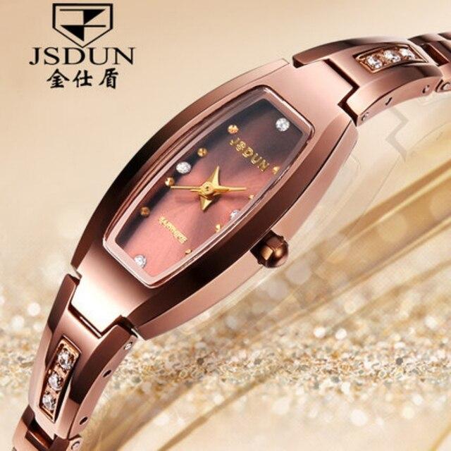 Luxury Woman Quartz Watch JSDUN Top Brand Tungsten Steel Strap Wristwatch CZ Diamond Sapphire Women Dress Watches 6530