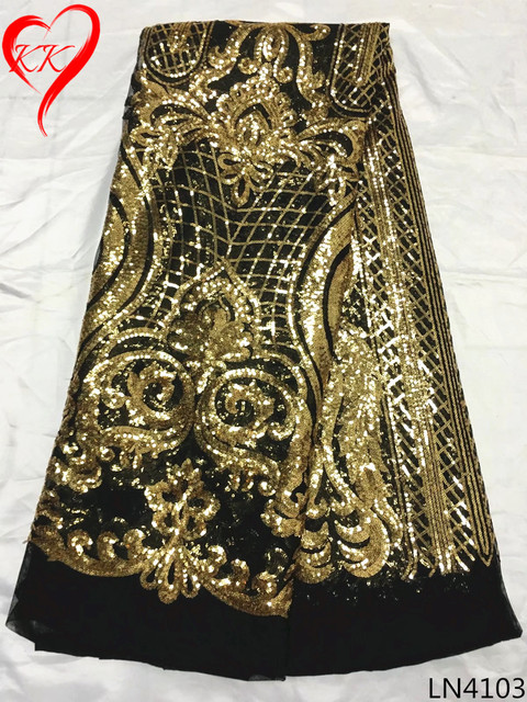 Beautifical Sequins Lace Fabric For French Net Gold African Sequin