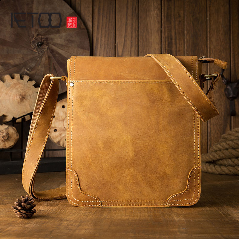 AETOO New leather casual business men bag shoulder bag vertical section leather fashion Messenger bag temperament iPad bag waterproof business messenger bag cross section preppy style flap bag vertical section contracted joker men crossbody bag 0182