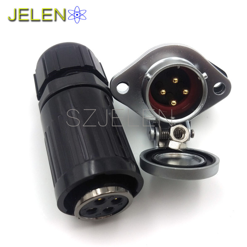 HE20, Waterproof and dustproof connectors 4 pin, 4 pin plug(male) , 4 pin socket(female) , LED power cable wire connector jelen hp20 series 7 pin industrial connectors plug socket aviation connector power charger male and female connectors 7 pin