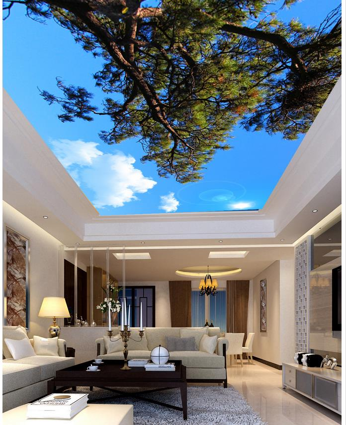 Blue sky ceiling forest Custom photo wallpaper 3D stereoscopic ceilings 3d mural paintings ceiling custom photo wallpaper 3d stereoscopic sky ceiling cloud wallpapers for living room mural 3d wallpaper ceiling