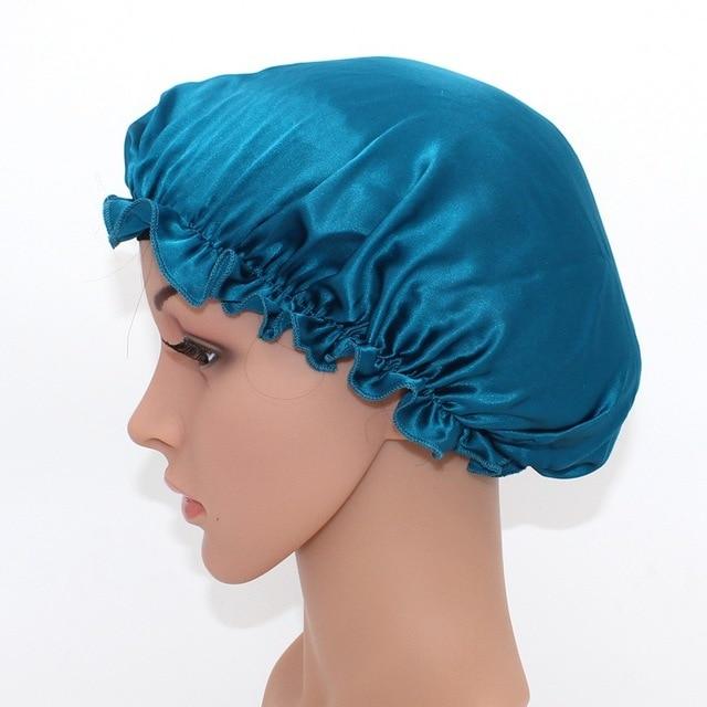 7b5dcb47192 Women pure silk sleep hats wrap night cap hair care head cover satin bonnet  sleep cap