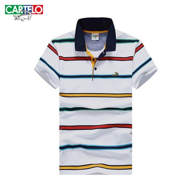 Cartelo brand 2017 summer men new cotton fashion British Business Slim men's casual stripes comfortable polo shirt male tee