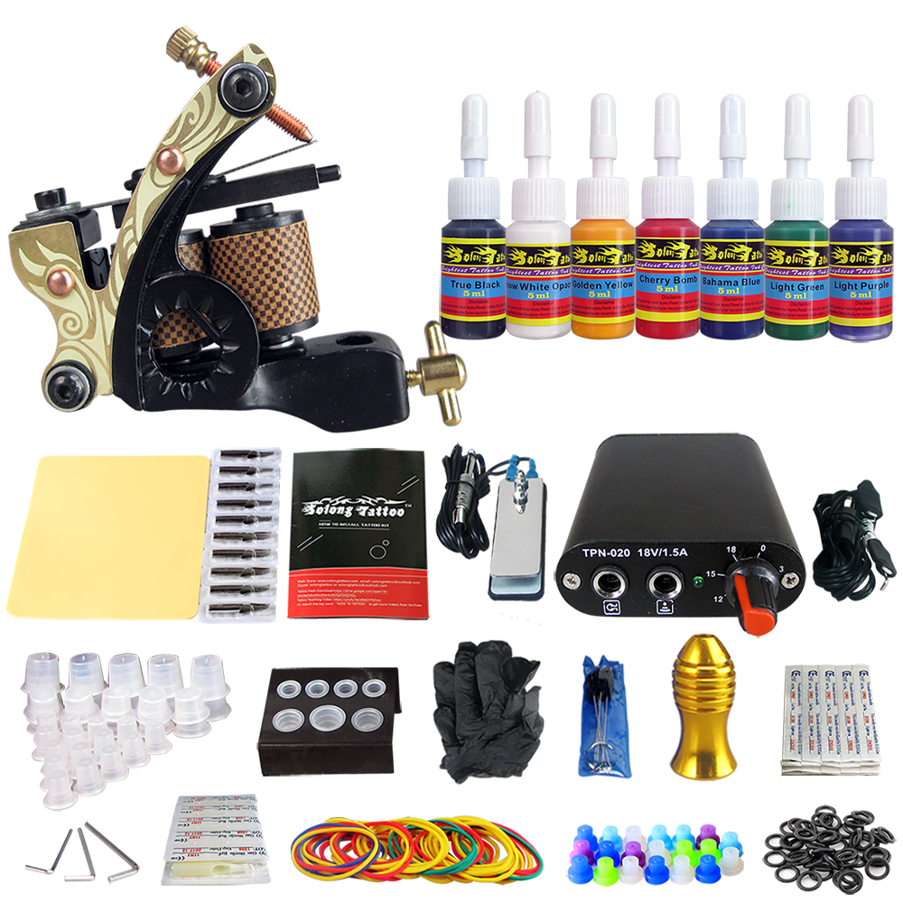 Tattoo Complete Tattoo Kit 1pc Coil Tattoo Machine Guns with 7Pcs Inks Power Supply Foot Pedal Switch Needle Grips Tips цены онлайн