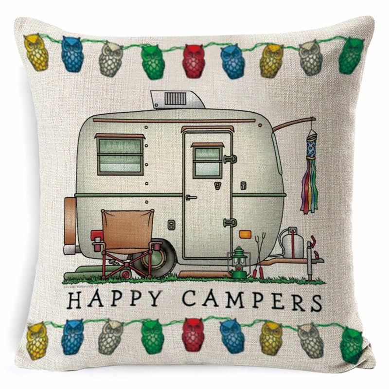 Lniana poszewka na poduszkę Happy Campers rzuć poszewka na poduszkę list poszewka na samochód na sofę dekoracje do wnętrz do sypialni 45cm * 45cm cojines