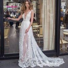 LEIYINXIANG New Arrival Wedding Dress V-Neck Appliques A-Line Lace Bride Romatic Gowns vestidos de novia 2019