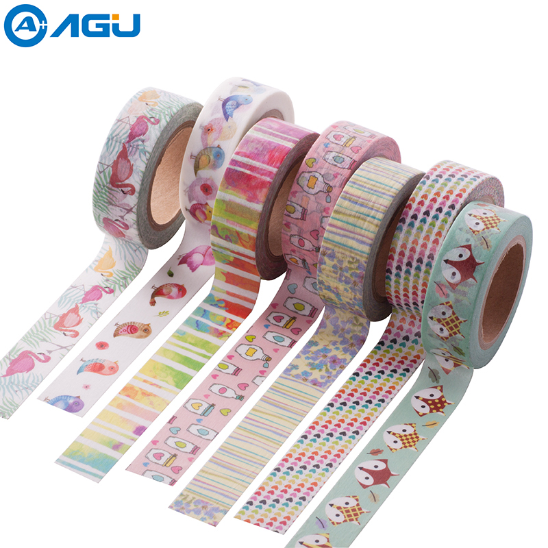 AAGU 2017 New Arrival 1PC 15mm*10m Cute Fox Pattern Washi Tape Single sided Adhesive Tape Scrapbooking Diary Paper Tape Sticker aagu new arrival 1pc 15mm 10m musical note fresh floral washi tape strawberry sticky adhesive tape various patterns masking tape