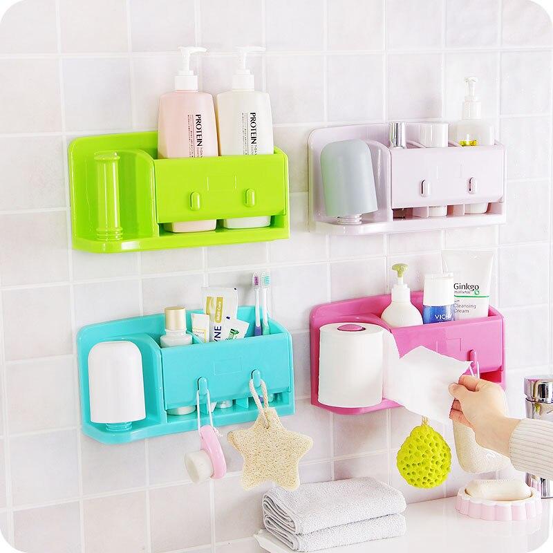 Self-adhesive kitchen storage box organizer plastic bag holder hanging toilet bathroom storage rack wall shelf