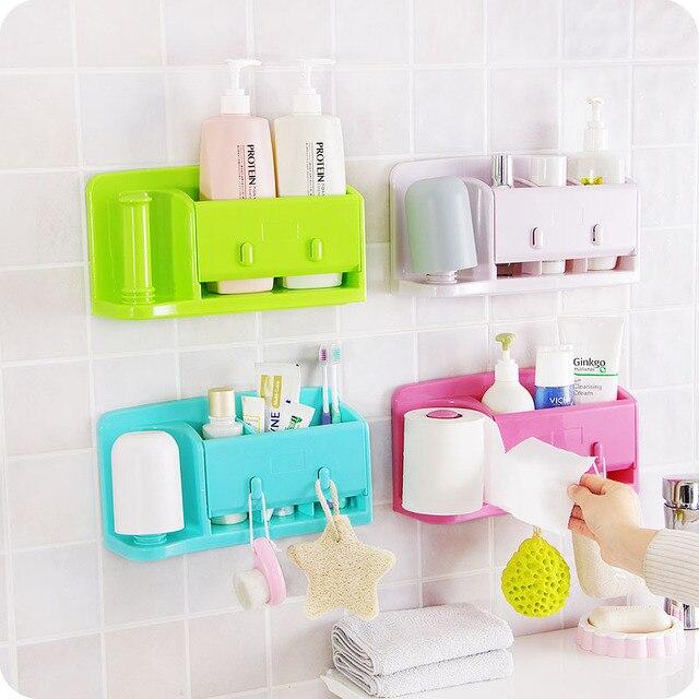 Self Adhesive Kitchen Storage Box Organizer Plastic Bag Holder Hanging  Toilet Bathroom Storage Rack Wall