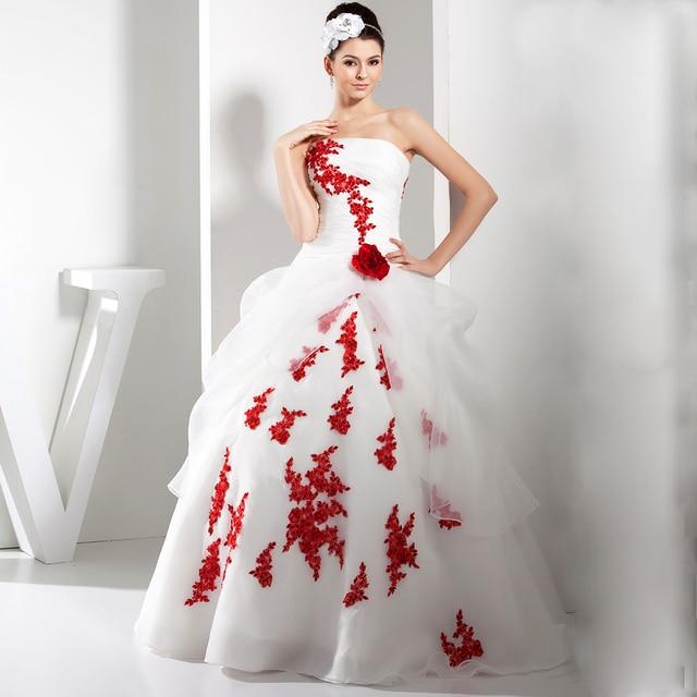 94c1d33e4e77 Adorabile abito di sfera bianco e rosso Vestito Da Cerimonia Nuziale 2017  senza spalline Maniche Appliques