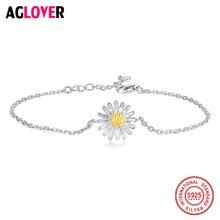Cute Bracelet Daisy Flower 925 Sterling Silver Simple Accessories Bracelets for Women Fine Jewelry