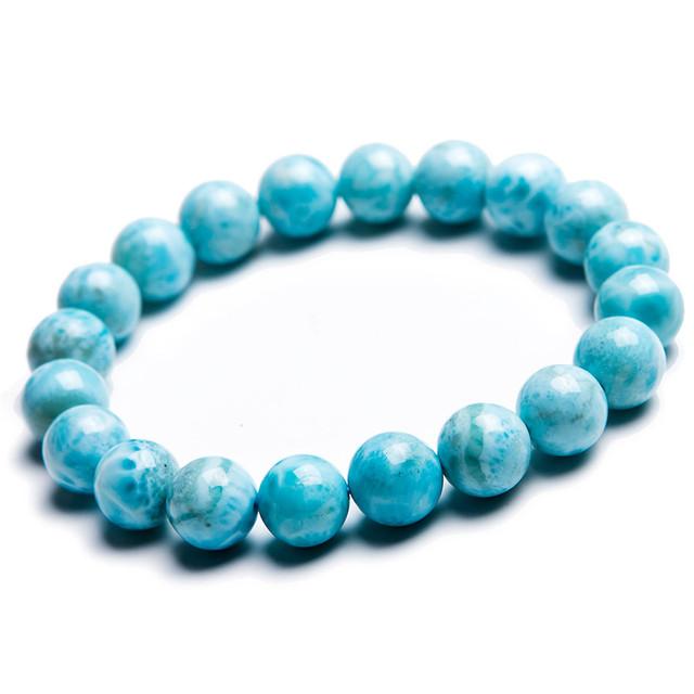 10mm Azul Natural Larimar Gems Pedra Solta Rodada Bead Estiramento Pulseira Para As Mulheres Frete Grátis Apenas Um