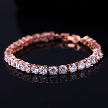 Charm Zircon Bracelet Rose Gold Color Bands Pave 0.5carat Red or Clear Cubic Zirconia Tennis Bracelet Women Jewelry LB0453-B(China)