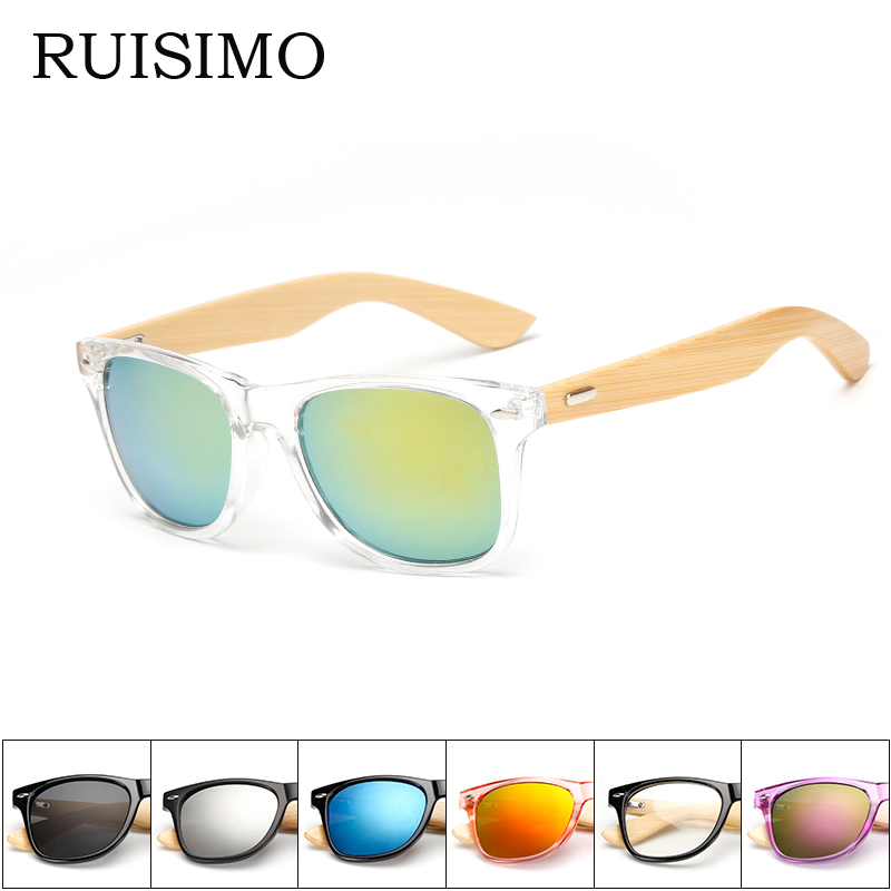 16 colores Gafas de sol de bambú Hombres Gafas de sol de madera Mujeres Diseñador de la marca Espejo Gafas de sol de madera originales retro de sol masculino