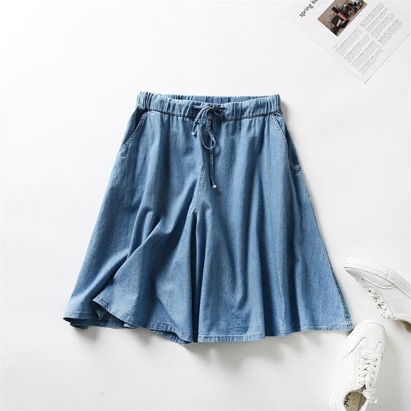 New Arrival Jeans Summer 2019 Women Casual Elastic Waist Halft S Girls Loose Solid Denim   Shorts   Skirts Large Size M-7XL