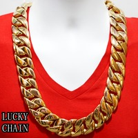 24K GOLD PLATING STAINLESS STEEL CUBAN LINK CHAIN BIKER NECKLACE(SUPER HEAVY)(28x 31mm)