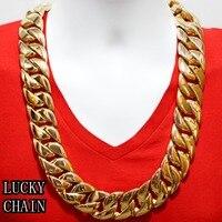 24 K золотое покрытие из нержавеющей стали кубинское звено цепи байкерское ожерелье (супер тяжелое) (28 x 31 мм)