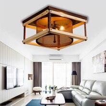 Lampadas de techo postmoderna de madera Simple luz de techo LED acogedor Vintage de la habitación dormitorio E14 LED accesorios de luz